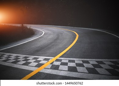 The beginning of racing on the road racetrack background.