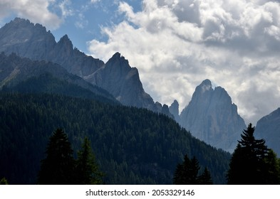 From the beginning of the Val Fiscalina view of part of the Croda Rossa di Sesto and in the valley the Croda dei Toni