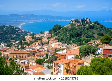 Begur Old Town and castle with Bay of Estartit and Platja de Pals sand beach on spanish Costa Brava coast, Catalonia, Spain