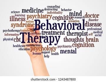 Behavioral Therapy word cloud and hand with marker concept on white background.