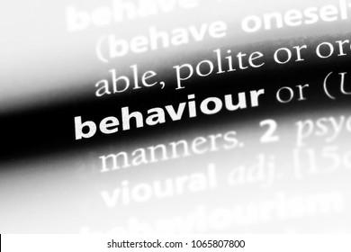 behaviour word in a dictionary. behaviour concept.