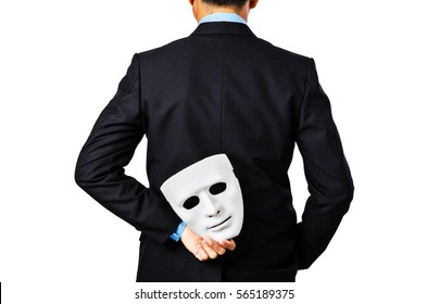 Behind of business man holding white mask isolated on white background, saved Clipping path.
