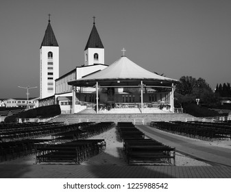 behind the church in medjugorje, with benches