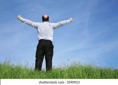 behind fatman on grass