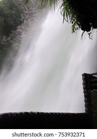 Behind the mighty waterfall in Ecuador, South America