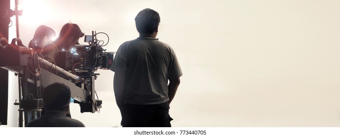 Behind the scenes of video shooting production crew team and professional camera equipment in studio.  - Shutterstock ID 773440705