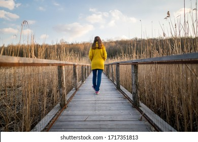 Behind a single Caucasian woman walking on a long wooden bridge near a beautiful reed-covered lake and deciduous forest during sunset. Young girl walking along the path alone towards unknown places.