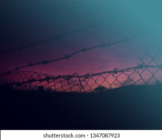 Behind a steel wire mesh. Freedom concept.