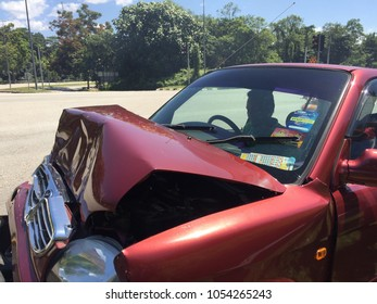 Behrang, Perak, Malaysia - JUNE 23, 2017 : Vehicle or car damage after being in car crash accident on street, damage automobile after collision in the city.