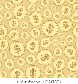beige background with dollars - finance seamless patterns