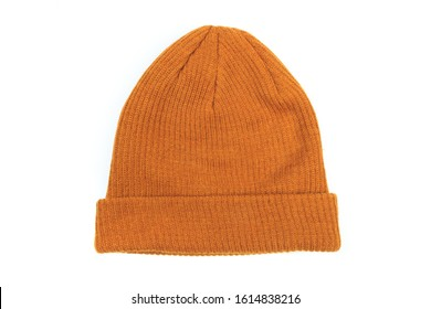 Beige beanie  in white background for mockup template isolated