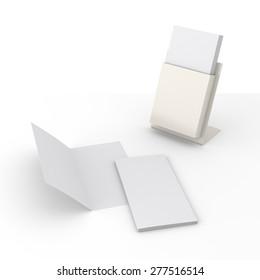 beige brochure stand