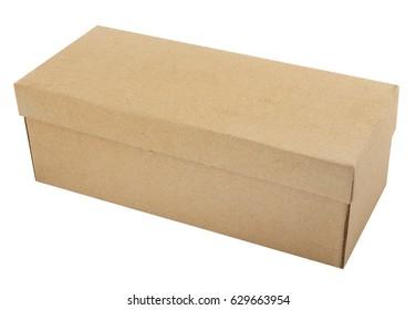 Beige cardboard box for footwear on white