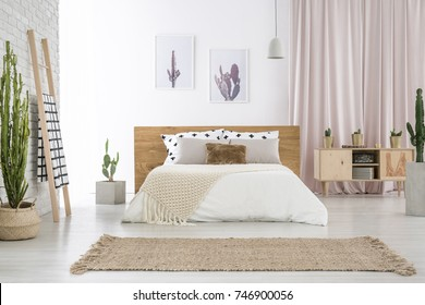 Beige carpet in front of king-size bed near ladder and cupboard in spacious bedroom with cactus motif