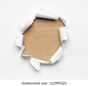 Beige circle shape breakthrough paper hole with white background