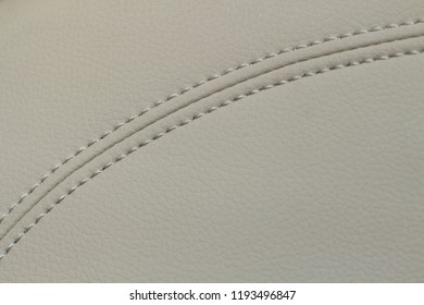 Beige color leather with stitch