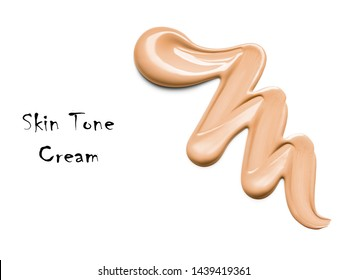 Beige Concealer Smudge Isolated on White Background. Foundation Liquid Lipstick Smudge. Lipstick Paint. Makeup Smear. Cosmetic Liquid Strokes. Grooming Products. Skin Tone Cream Top View