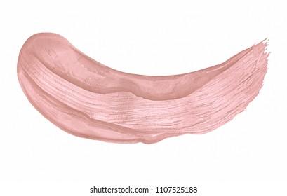 Beige cosmetic liquid lipstick smear on white background. Creamy foundation smudge.