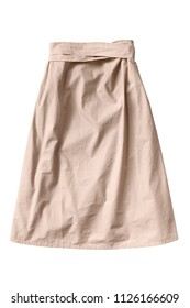 Beige cotton flared skirt with a belt isolated over white