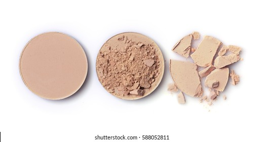 Beige crashed face powder for make up as sample of cosmetic product  isolated on white background