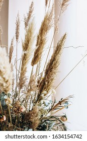 beige dried flowers boho bouquet - Shutterstock ID 1634154742