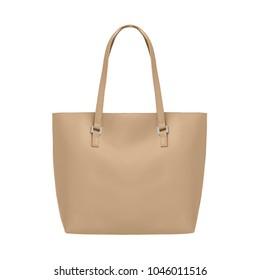Beige elegant leather tote shoulder bag isolated white