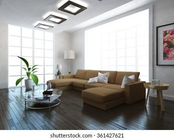 beige empty wall. 3d illustration