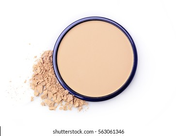 Beige face powder for make up in open black box isolated on white