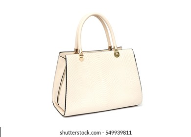 beige fashion female woman purse handbag isolated on white background