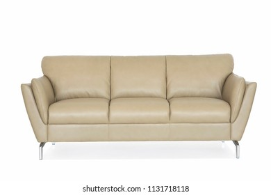 Beige genuine leather sofa with metal legs.