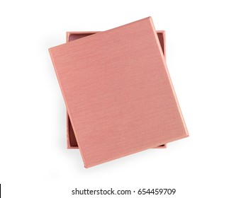 Beige gift box. Isolated on white, clipping path included. Top view