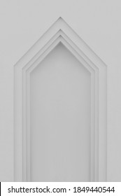 Beige grey plastered faux arch, false fake window or door stucco frame, textured background, large detailed vertical blank empty copy space, gray bright texture, gentle shadows