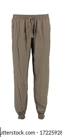 Beige harem pants. High cut harem pants.  Isolated image on a white background.