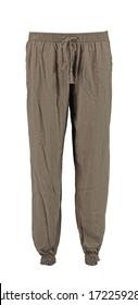 Beige harem pants. High cut harem pants.  Isolated image on a white background.