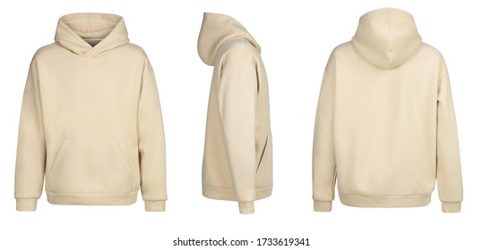 Beige hoodie template. Hoodie sweatshirt long sleeve with clipping path, hoody for design mockup for print, isolated on white background.