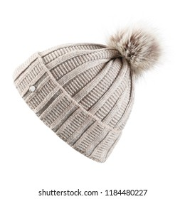 Beige Knitted Hat with a Faux Fur Pompom Isolated on White Background. Ladies Cream Wool Knit Ski Beanie. Outdoors Casual Winter Two Tone Hat Knitting Pattern with Pom Pom