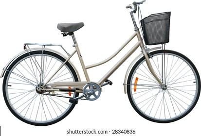 beige ladies bicycle on white background
