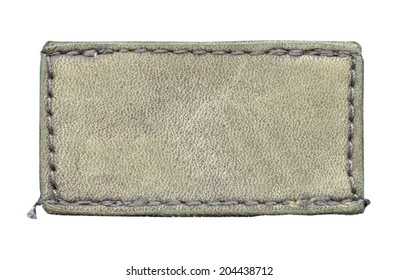 beige leather label