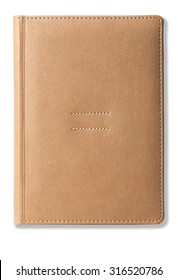 Beige leather office diary isolated on white background