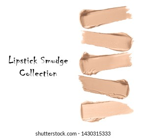 Beige Lipstick Collection Isolated on White. Brown Foundation Makeup Smear. Liquid Lipstick Smudge Paint. Cosmetic Concealer CC or BB Cream Strokes. Skin Tone DD Cream Swatches. Grooming Products