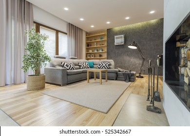 Beige living room with a large corner sofa and a designer floor lamp