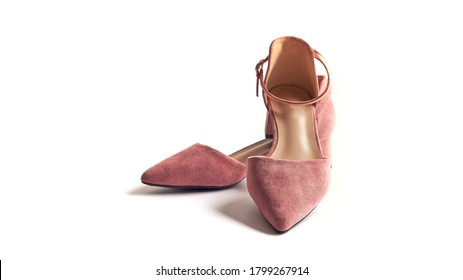 beige mules on a white background, female shoes. front view