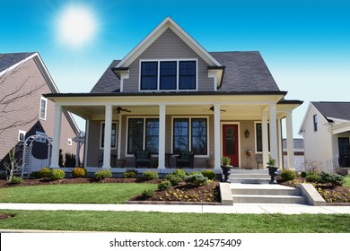 Beige New England Style Suburban Dream Home