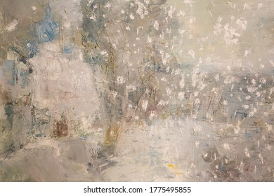 Beige old wall with layers of paint. Concrete texture on the background. Oil paint on canvas