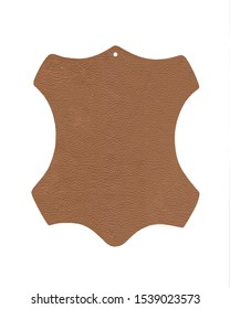 Beige original leather sign made of 100% real leather isolated on white background. Leather symbol - animal hide. Label for genuine rawhide material. Clean cowhide shape