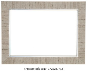 Beige photo frame. Isolated object