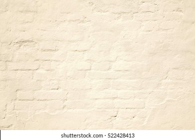 Beige Plastered Brick Wall Texture. Lime Wash Brick Wall Seamless Surface And Abstract Solid Background. Pastel Brickwall Wallpaper. Pale Retro Painted Wall Built Structure.