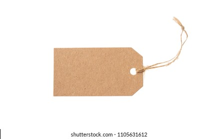 Beige recycled blank parcel tag and top view isolated on a white background