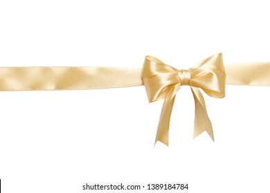 beige ribbon and bow isolated on white background