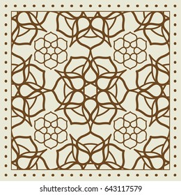 Beige scarf design with geometric pattern. illutration